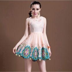 Đầm xoè lưới hoa chân váy cao cấp đủ size- gt117