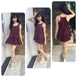 Áo váy caro dạng yếm 014