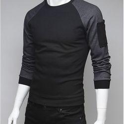 Áo thun nam tay dài phối túi đen