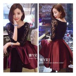 Set : áo ren hoa tay dài + váy xòe thắt nơ hm8-7