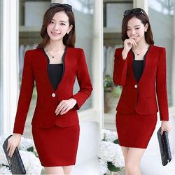 Set bộ vest có size xl: áo vest + chân váy công sở - tp676