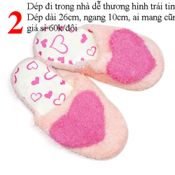 Dép đi trong nhà dễ thương hình trái tim màu hồng dép dài 26cm ngang 10cm ai mang cũng vừa giá sỉ 60k/đôi giá sỉ