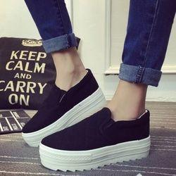 Giày slip-on bánh mì đan chéo sh035-175-đen