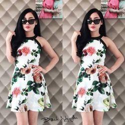 Xưởng thời trang hotgirl - đầm hoa cổ yếm bạch nguyễn giá sỉ