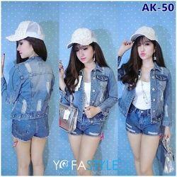 Áo khoác jean nữ lửng rách túi ak-50 yofastyle
