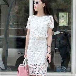 Zozoshop chuyên sỉ - set bộ ren áo crop + chân váy xin - giá hot
