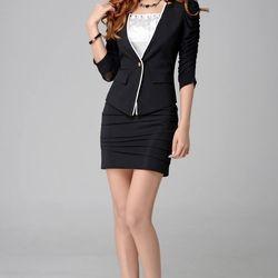 Aó khoác vest nữ kaki akvn49 tay nhúng 2 màu đen trắng có sẵn