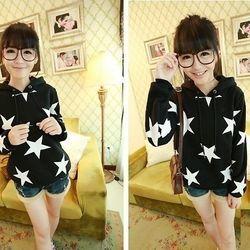 Khoác nữ hoodie ngôi sao trắng - 105