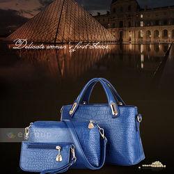 Bộ túi xách da nữ 3 chiếc họa tiết vân da cá sấu sang trọng, thời trang
