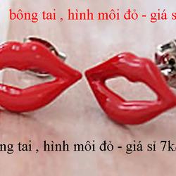 Bông tai hình môi đỏ giá sỉ 7k/đôi giá sỉ
