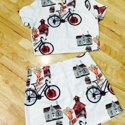 Set áo croptop chân váy in 3d hoạ tiết xe đạp - gs009 giá sỉ
