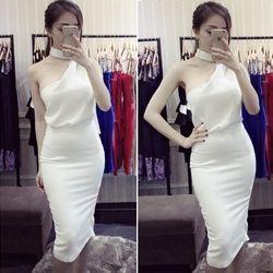 Set bộ áo lệch vai và chân váy bút chì trắng tuyệt đẹp #388